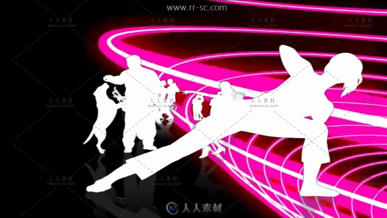 舞动青春人物剪影舞台晚会背景视频素材