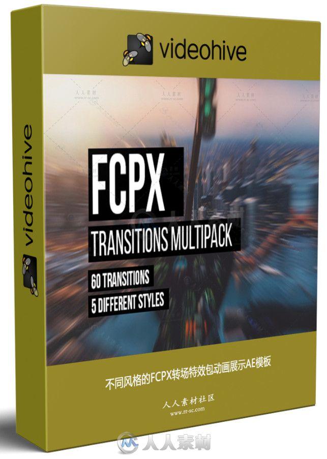 不同风格的FCPX转场特效包动画展示AE模板