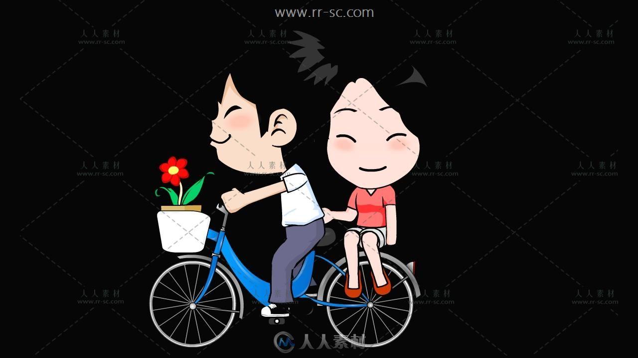 情侣骑单车演示动画带通道视频素材