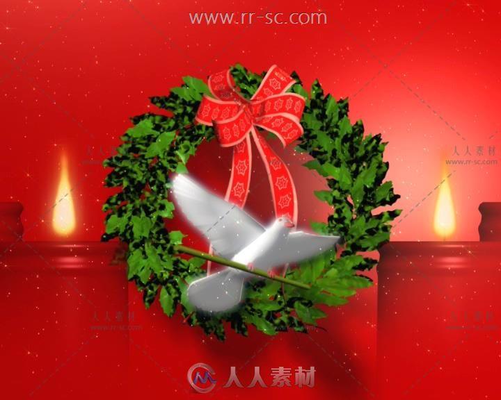 红色喜庆背景白鸽红蜡烛圣诞节视频素材