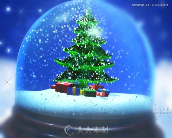3组蓝色梦幻圣诞玻璃球视频素材
