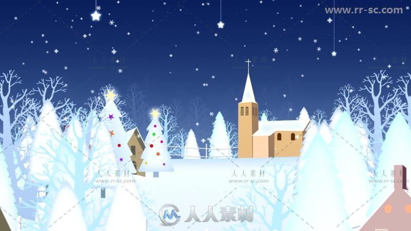 圣诞树雪屋视频素材