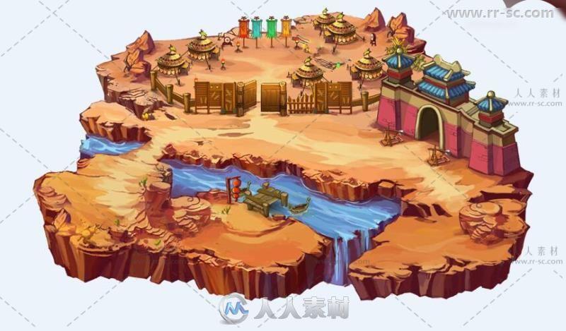 Q版三国题材手游游戏地图30P手绘风格