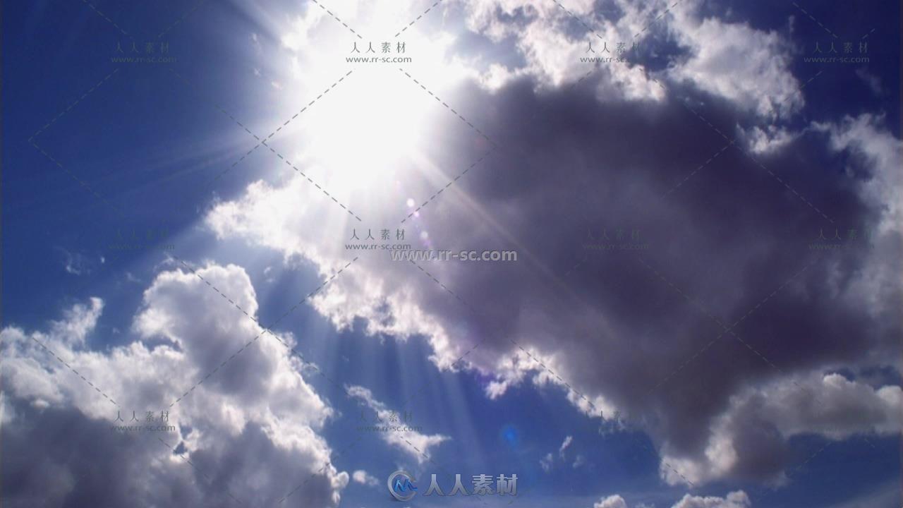 天空景色白云飘浮阳光照射云层移动唯美画面高清实拍视频素材