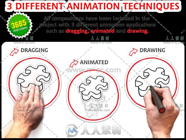 2500组超豪华白板手势绘画创意设计动画AE模版