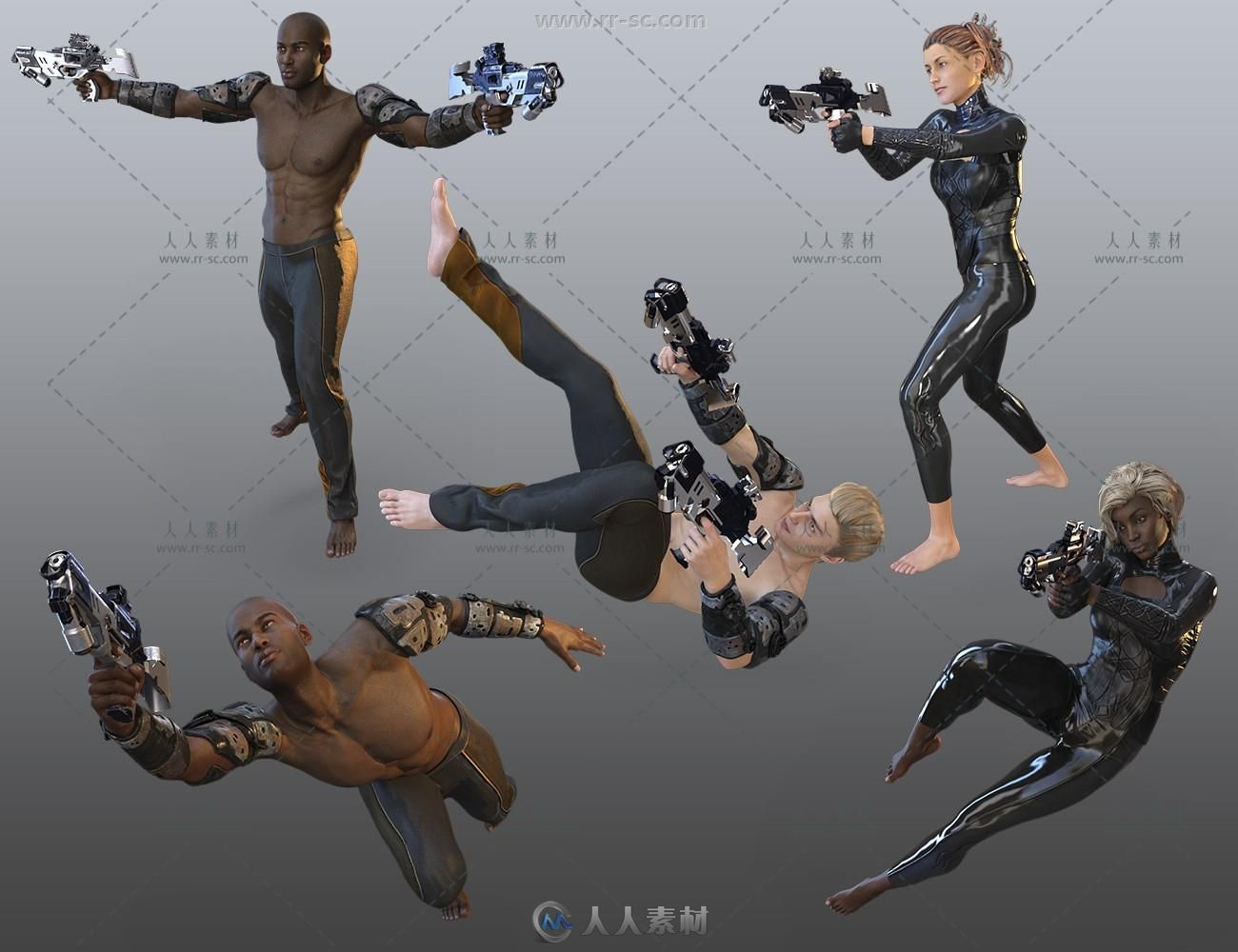 科幻星际战士各类战斗姿势3D模型与纹理贴图预设合集