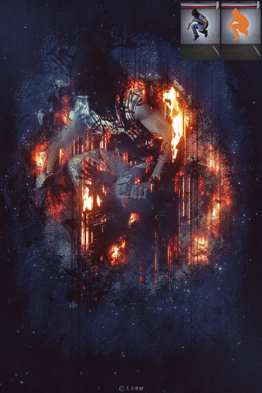 超酷撕裂烈焰艺术特效PS动作