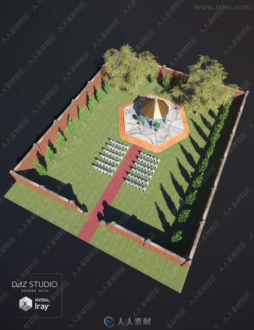 美丽草坪婚礼完整场景模型贴图素材