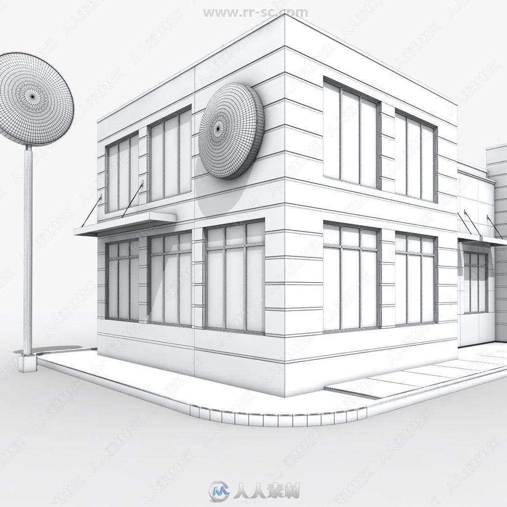 模型快餐厅加油站等建筑饭店3D设施合集第一36mm*高保真喇叭图片