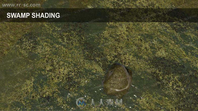大型河流湖泊沼泽水流地面植被渲染工具Unity游戏素材资源