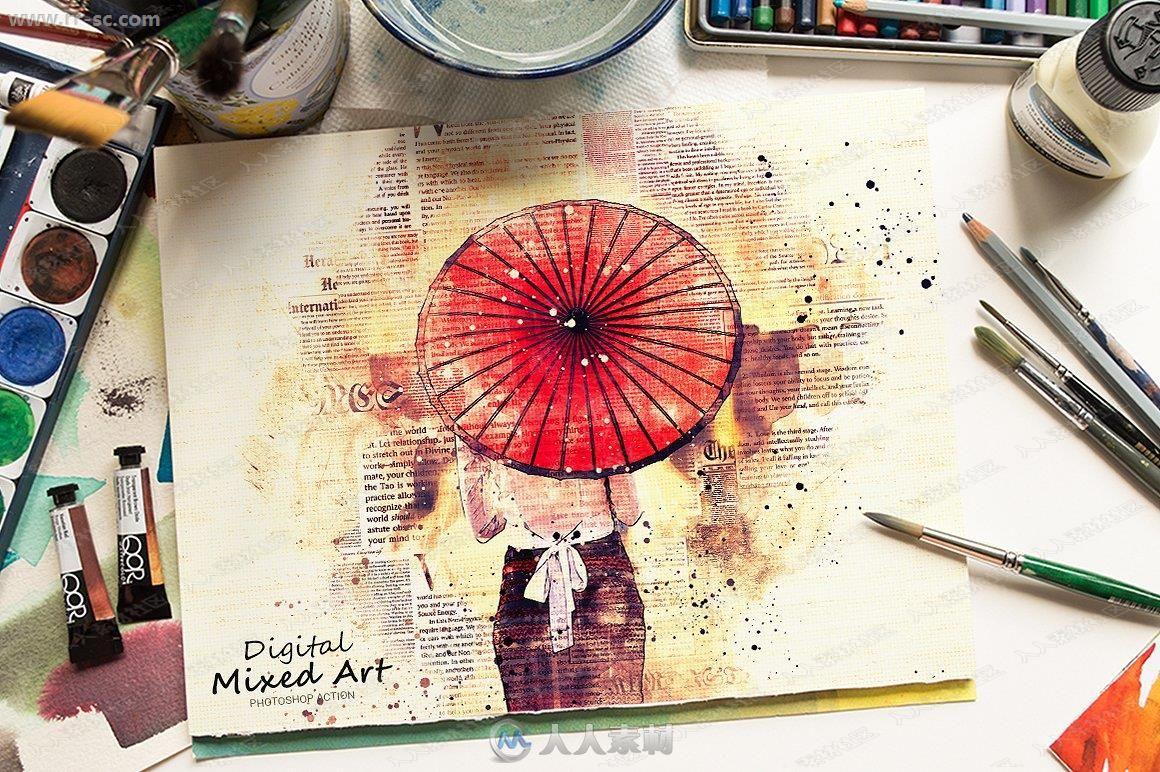 数字报纸油画混合感人物艺术特效PS动作