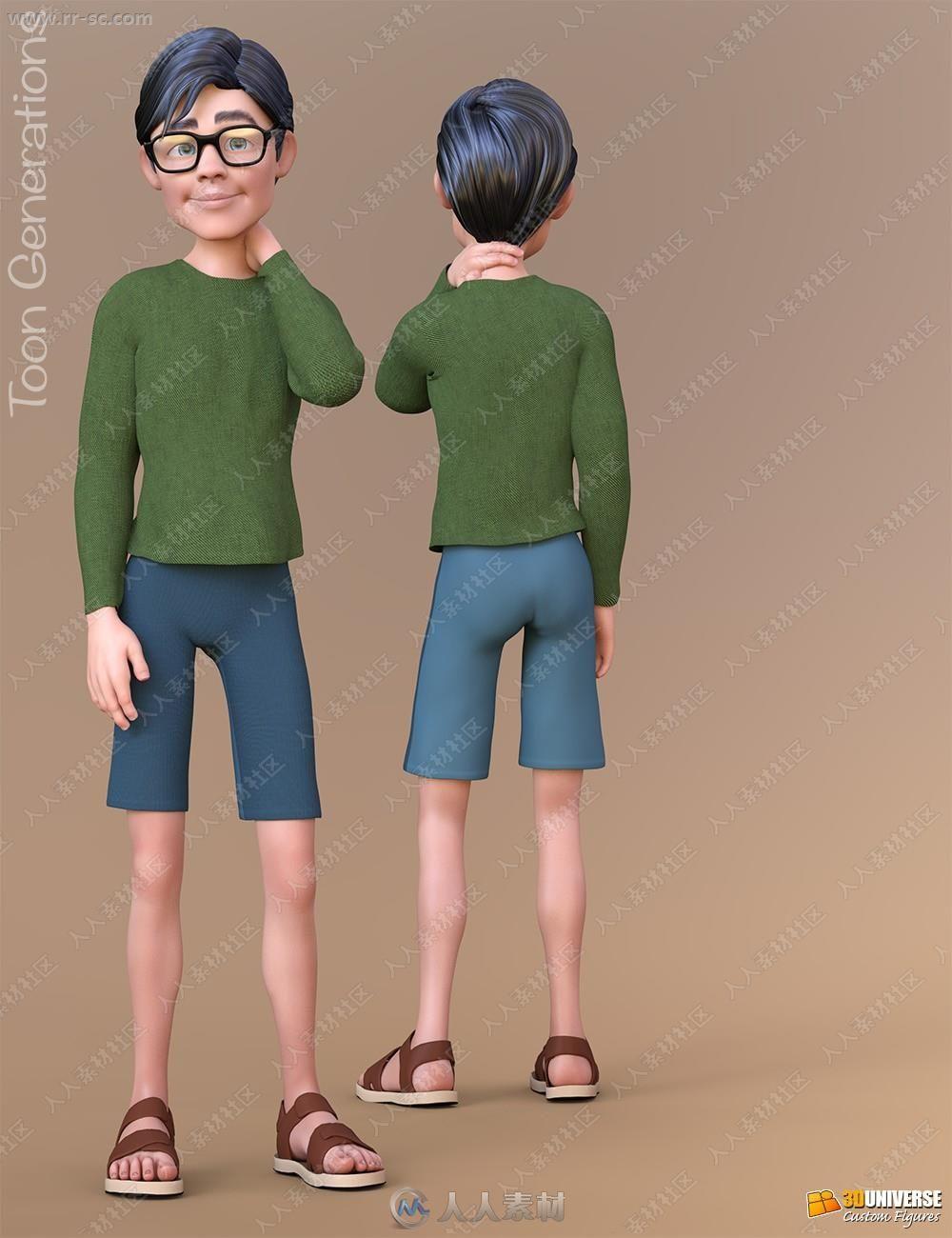 多组男女幼龄至老年各种形态3D模型