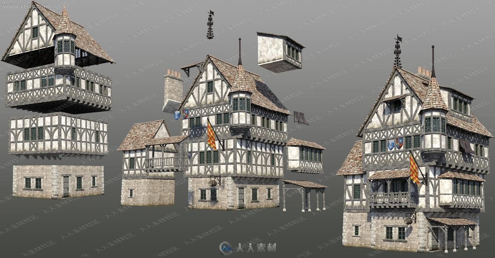 中世纪一层至三层小古堡建筑3D模型