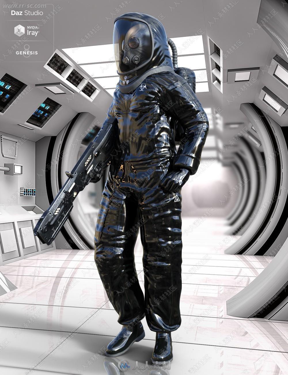 丧尸生化危机防护服装及姿势场景3D模型