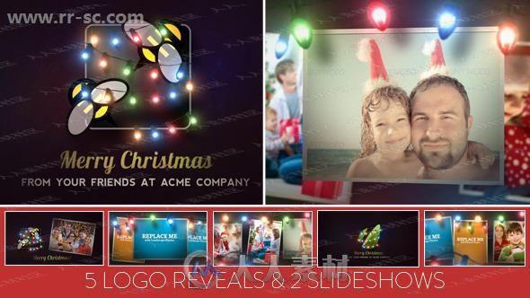 圣诞气息闪烁小彩灯温馨陈列相册动画AE模版