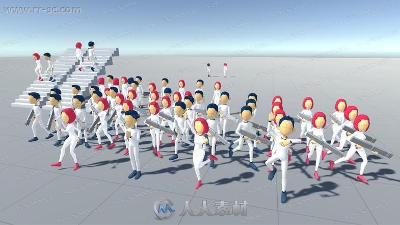 122组卡通风格男女跑跳走笑各种姿势动作动画Unity游戏素材资源