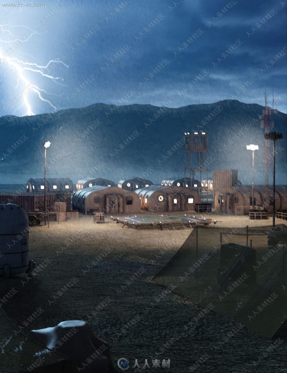 探险军事基地前线哨岗布局设备3D模型