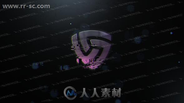 故障闪烁金属质感logo动画演绎AE模板