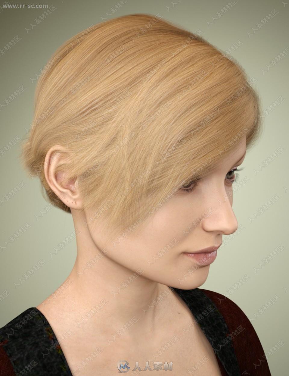 多种颜色发型短发刘海小马尾发型3D女士减女孩中年模型龄图片