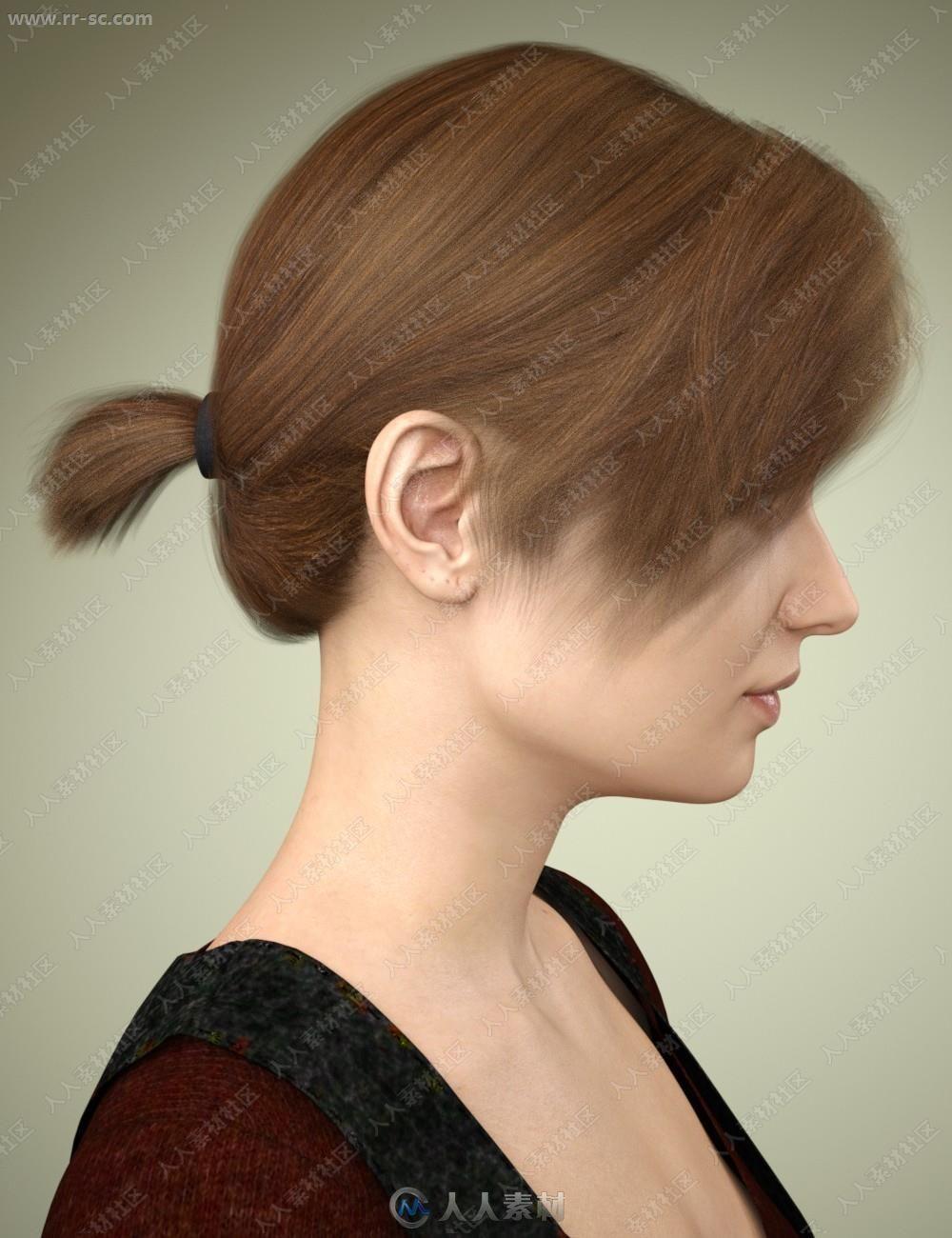 多种颜色短发发型刘海小马尾发型3D短发圆脸男生模型女孩学生图片