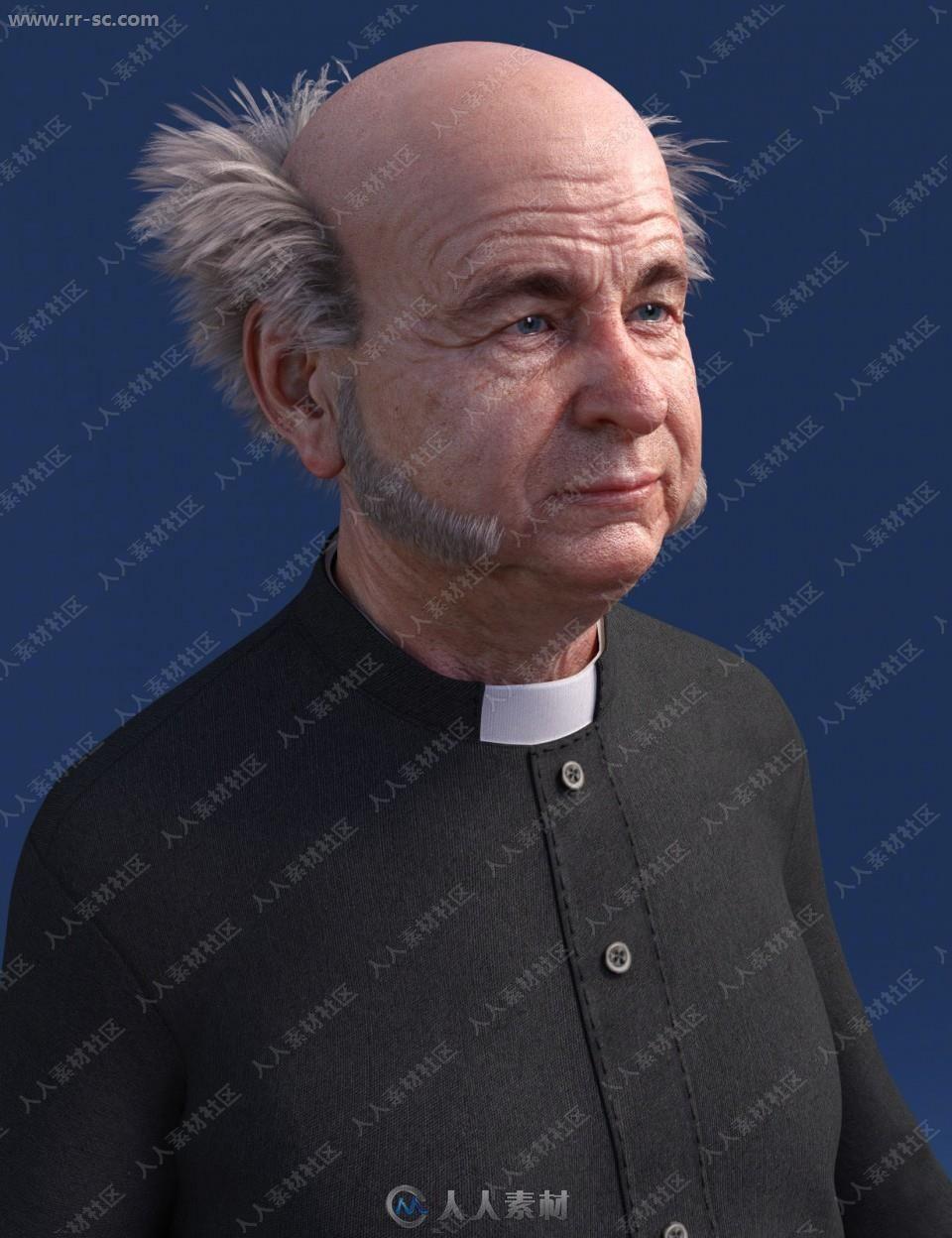 牧师经典装束帽子西裤外套3D模型