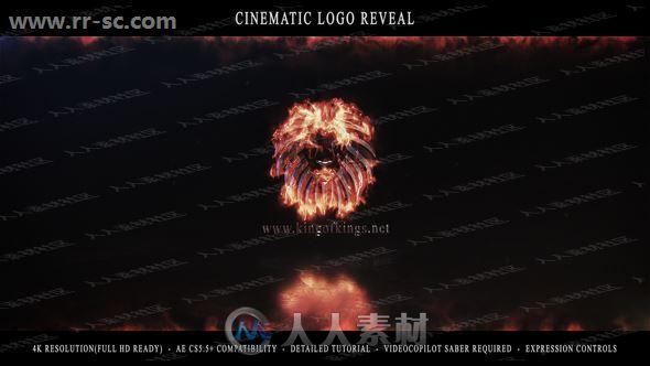 超酷电影开场火焰电流式燃烧logo动画演绎AE模板