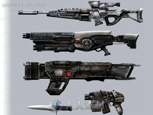 80组科幻动画枪支武器战斗刀3D模型Unity游戏素材资源