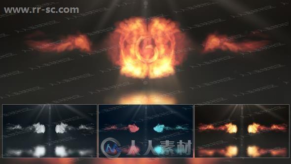 多种颜色烟雾对撞冲击logo动画演绎AE模板