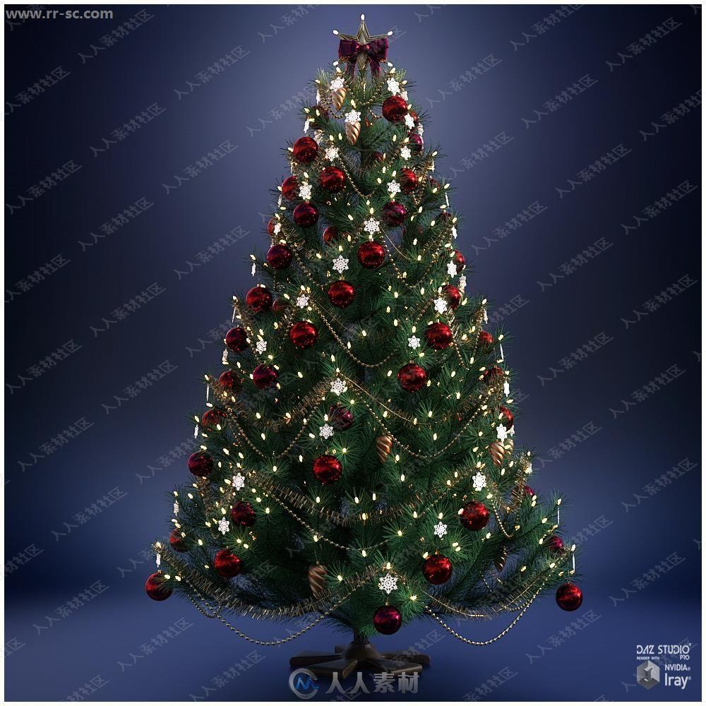 精细不同颜色彩球圣诞树3D模型