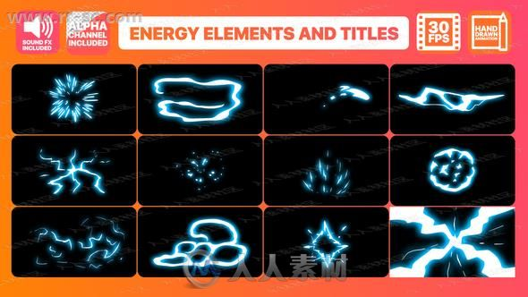 能量源气流爆炸电流特效包装二维动画AE模版