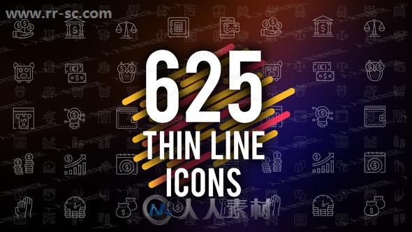 625组细线绘画小图标创意设计AE模版