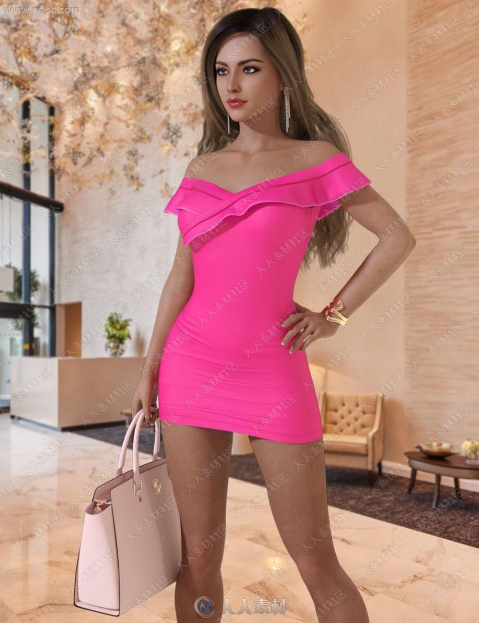 荷叶边短裙配饰皮包高跟鞋整套3D模型