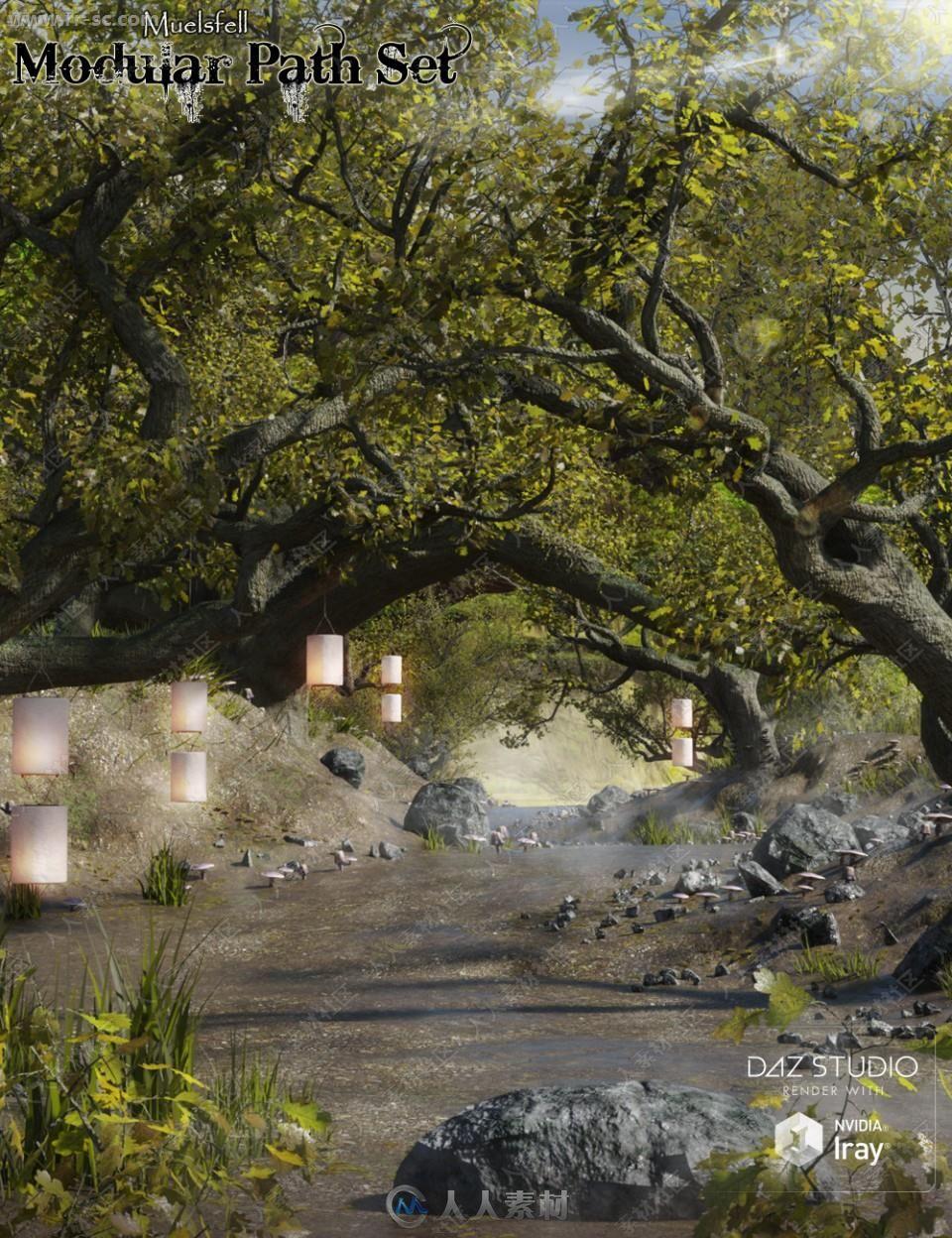 巨大树木森林彩色蘑菇灯笼环境3D模型