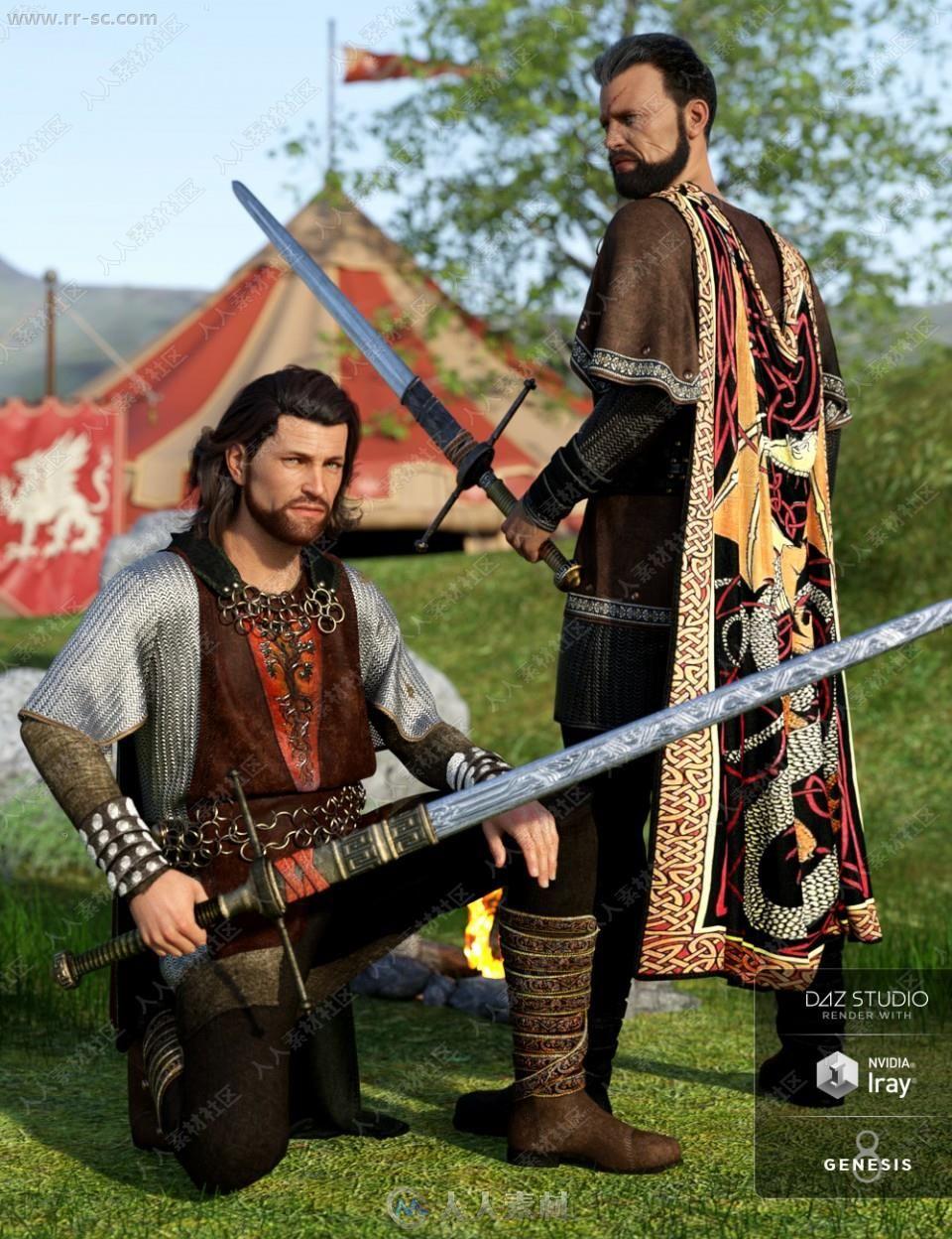 多组不同材质战士披风套装及佩剑3D模型