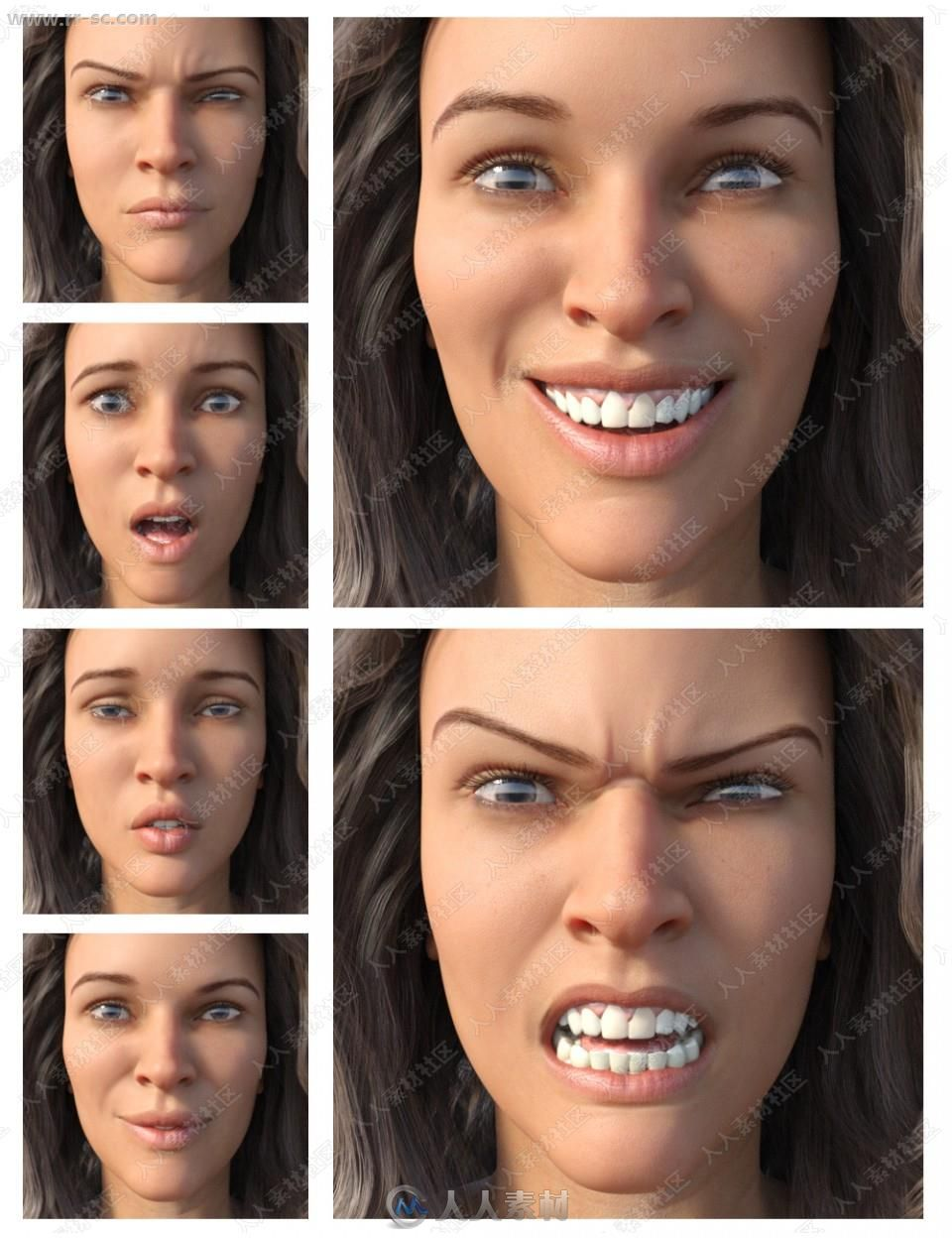 多组女孩悲伤欢乐愤怒惊讶表情动作3D模型