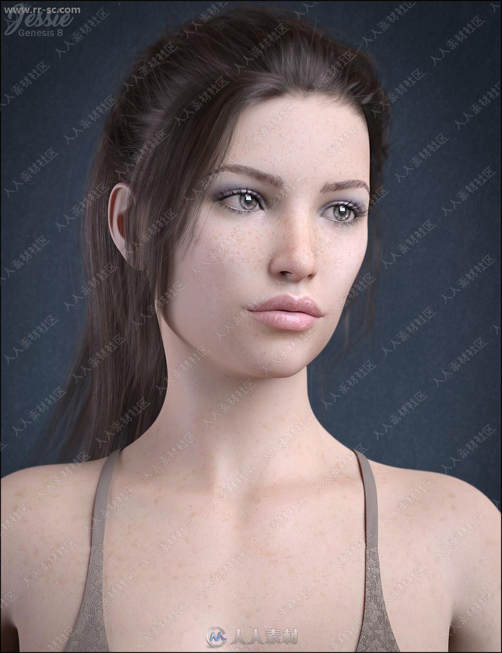 温柔美丽雀斑女孩多组姿势3D模型