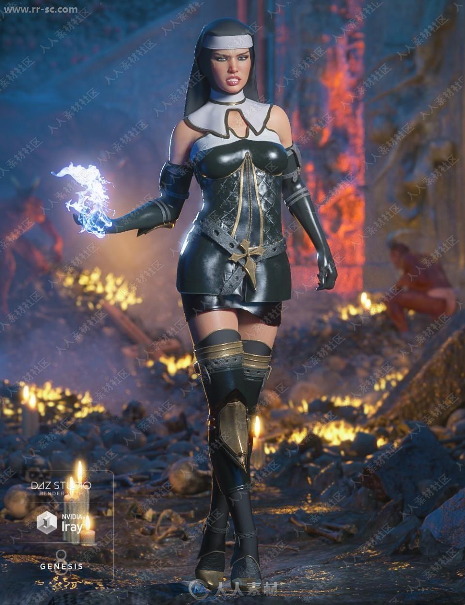能量魔法修女战斗服装头巾3D模型