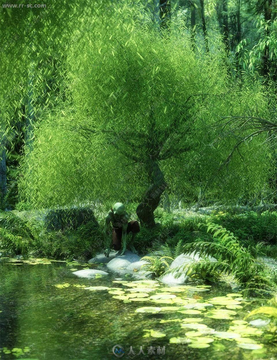 柔软垂下柳树四季风雪变化状态3D模型