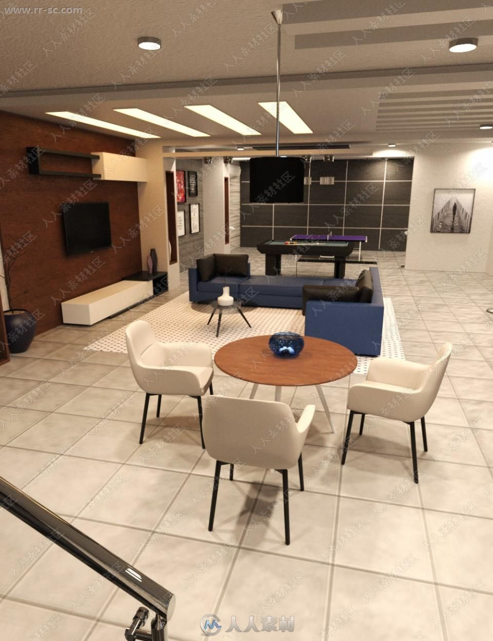 简洁舒适室内布局家具环境3D模型