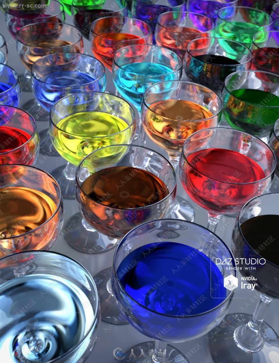 多种颜色玻璃器皿液体饮料酒水3D模型