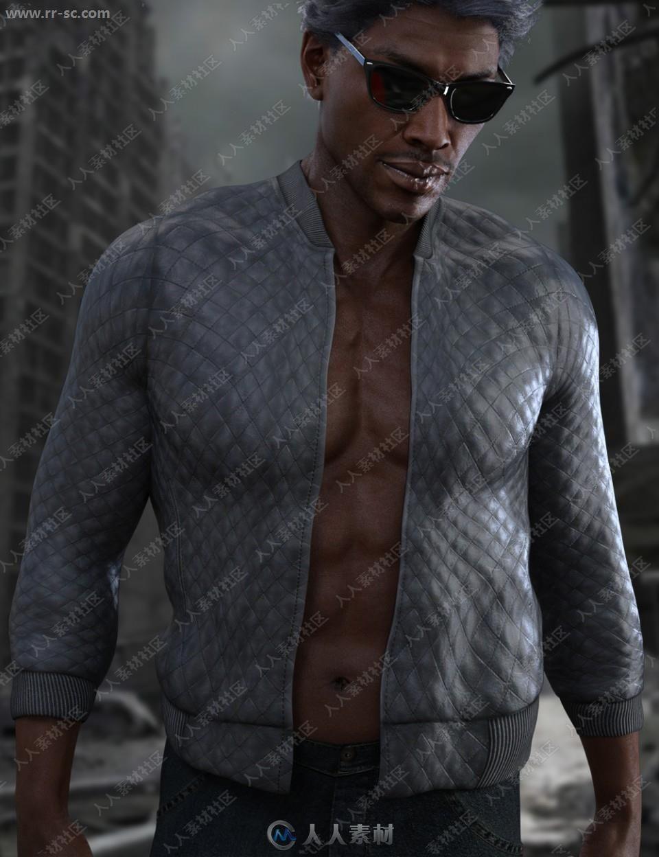 超酷多种颜色男式纹理紧身夹克3D模型