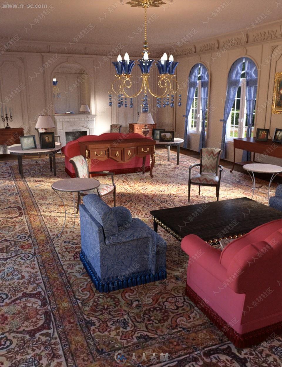 巴洛克风复古典雅客厅设施3D模型