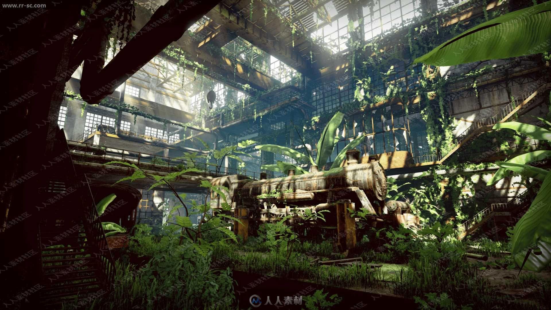 绿植荒废火车工厂车间整体环境UE4游戏素材资源