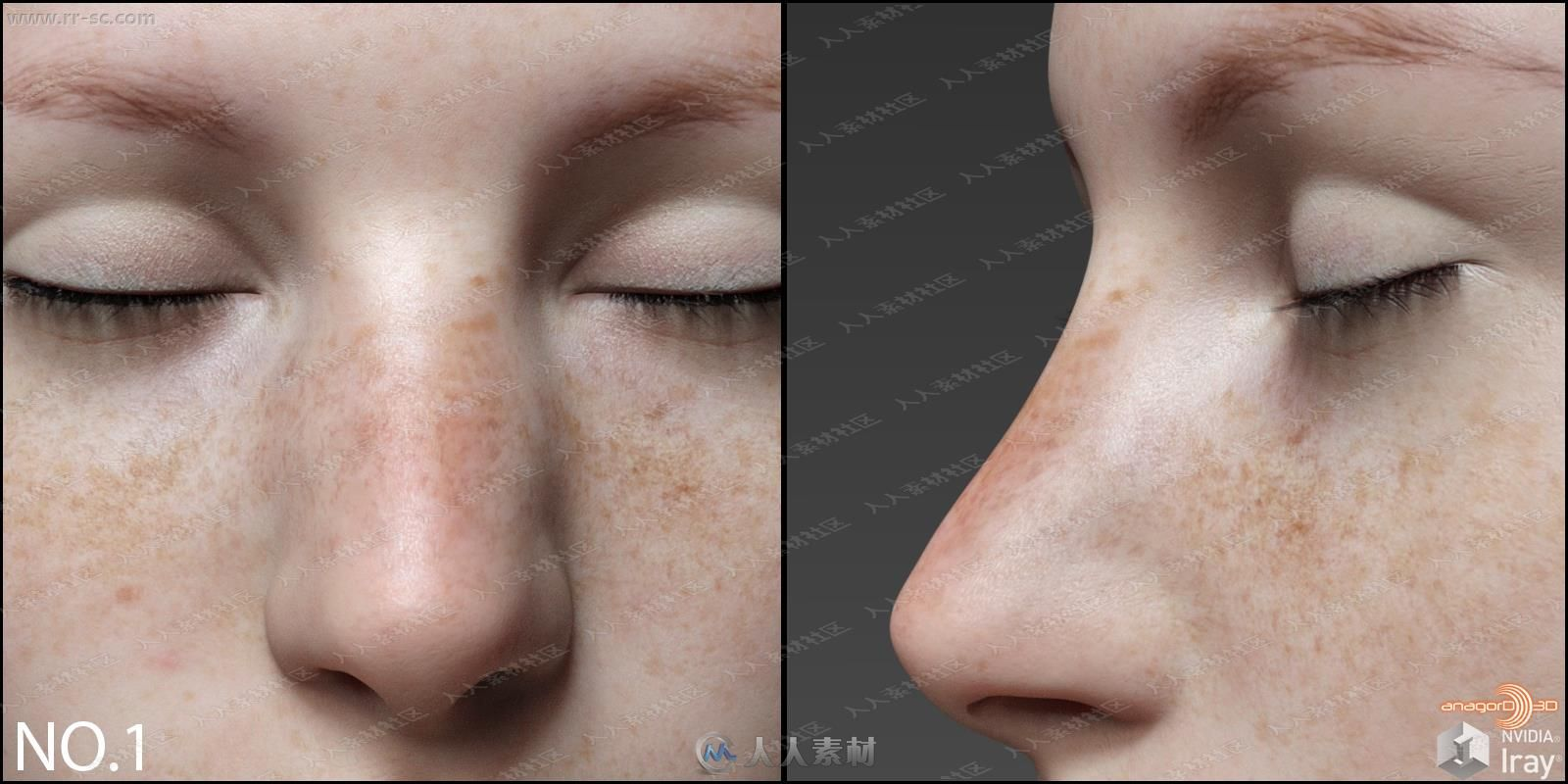 雀斑脸颊多组不同形态鼻子3D模型