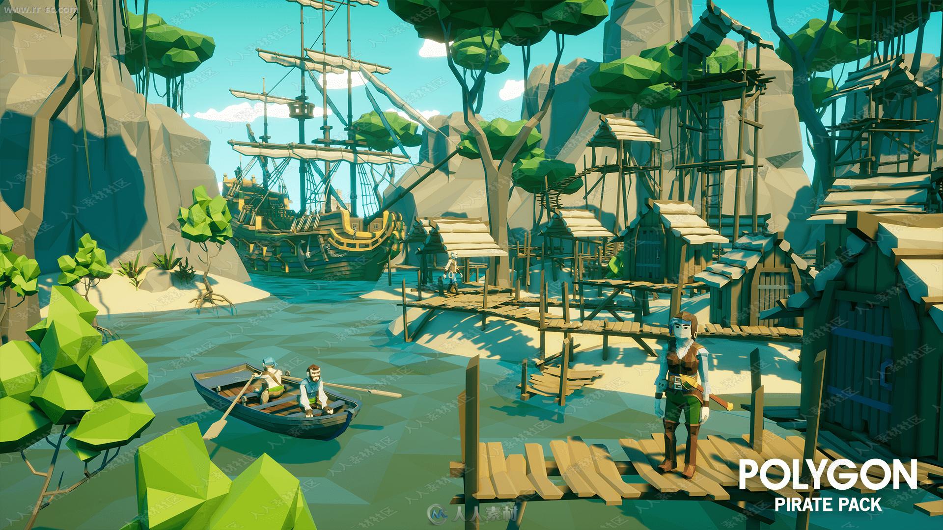 大型海盗风格游戏物资环境3D模型UE4游戏素材资源