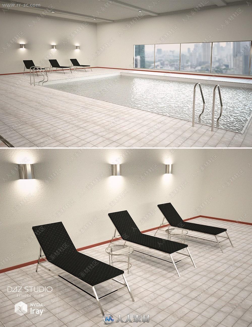 洁净泳池躺椅桌子设施3D模型