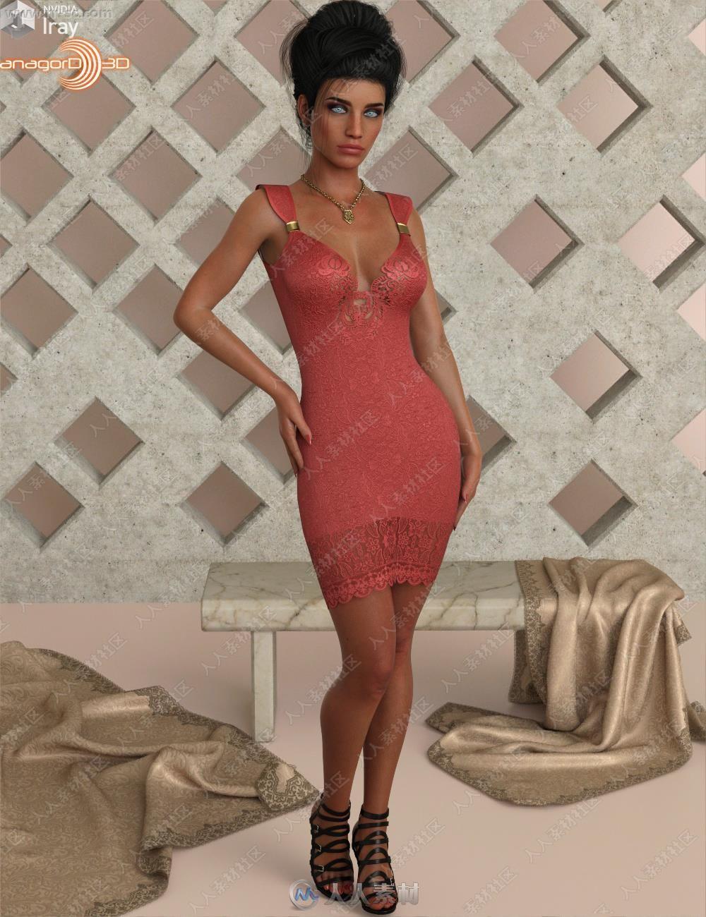 多组颜色蕾丝曲线典雅吊带裙3D模型