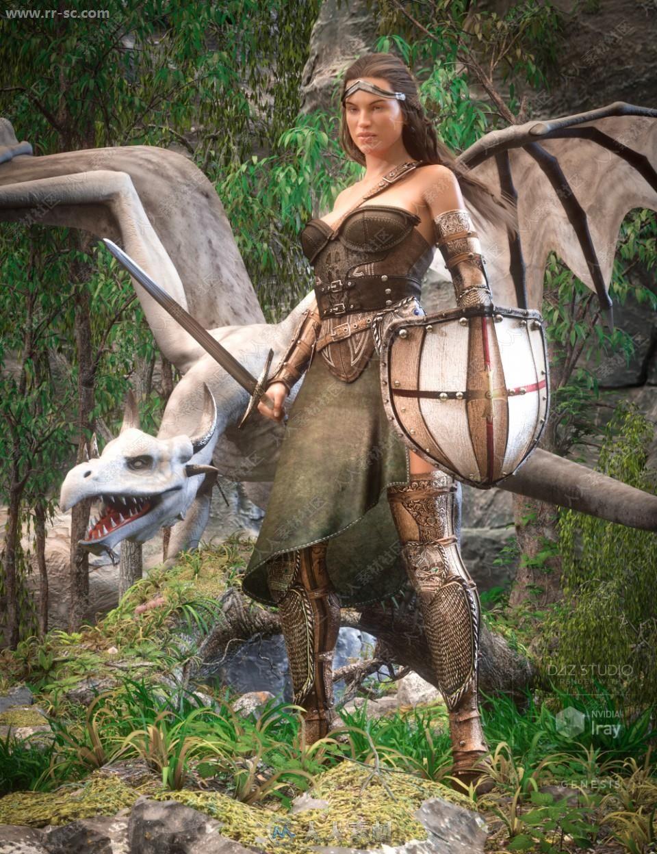 古老女士铠甲盾牌长剑套装3D模型