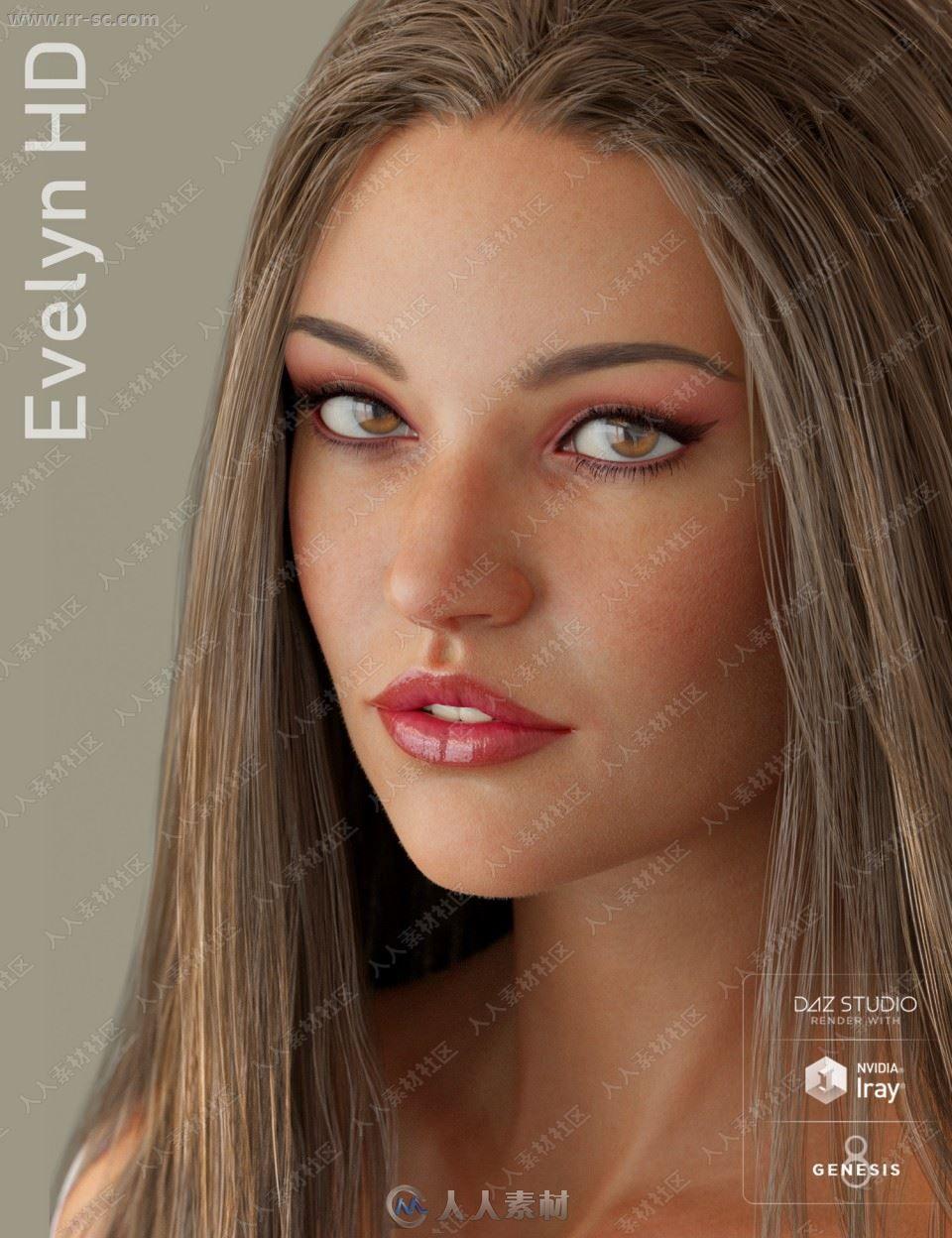美丽模特身材长发女孩多组妆容发色造型3D模型