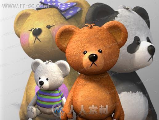 超萌可爱动画动作熊猫泰迪熊娃娃3D模型Unity游戏素材资源